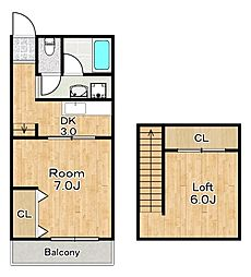 サンハウス 3階2DKの間取り