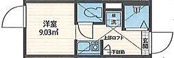 QUQURI北新宿(ククリ キタシンジュク) 1階ワンルームの間取り