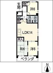 サンメゾン松井[1階]の間取り