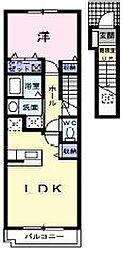 広島県福山市神辺町大字川北の賃貸アパートの間取り
