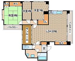 兵庫県神戸市中央区山本通2丁目の賃貸マンションの間取り