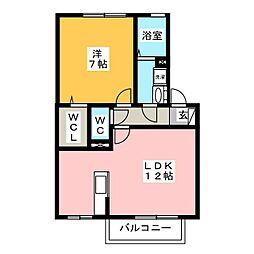 愛知県名古屋市中川区大塩町2丁目の賃貸アパートの間取り