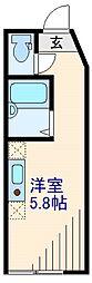 東急東横線 菊名駅 徒歩9分の賃貸アパート 2階ワンルームの間取り