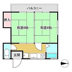 木村アパート 2階2Kの間取り