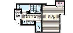 7777-Studio 385 1階1Kの間取り
