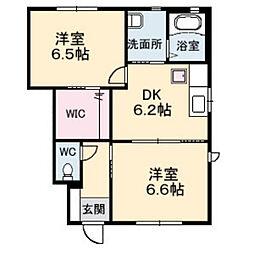 ウィングス緑井 D棟[1階]の間取り