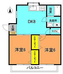 トミヅカヴューハイツC[102号室]の間取り