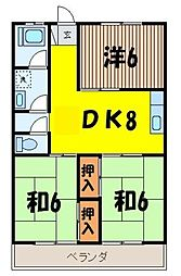 埼玉県富士見市水子の賃貸マンションの間取り