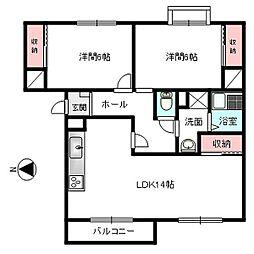 サングレースマンション[302号室]の間取り