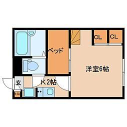 近鉄京都線 山田川駅 徒歩20分の賃貸マンション 2階1Kの間取り