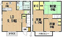 [テラスハウス] 東京都日野市豊田2丁目 の賃貸【/】の間取り