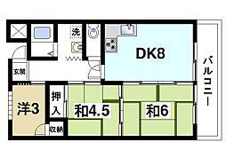 シャトー天理 4階3DKの間取り
