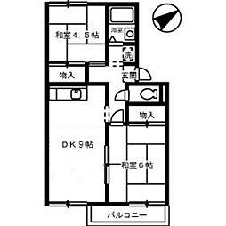 プレジールsukenobu B棟[2階]の間取り