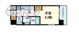 Osaka Metro中央線 阿波座駅 徒歩6分の賃貸マンション 12階1Kの間取り