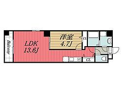 JR総武線 新検見川駅 徒歩1分の賃貸マンション 4階1LDKの間取り