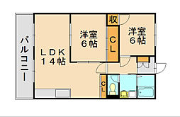 コーポ舞松原[3階]の間取り