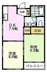 ハイツ日吉 2階2DKの間取り