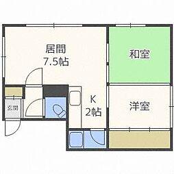 北海道札幌市中央区南九条西17丁目の賃貸アパートの間取り