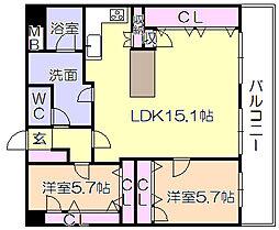 ライオンズマンション久留米プラザ3番館[305号室]の間取り