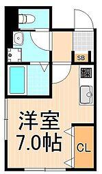 (仮称)西加平2丁目マンション 2階ワンルームの間取り