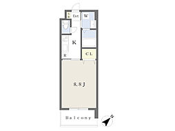 JR鹿児島本線 小倉駅 徒歩19分の賃貸マンション 9階1Kの間取り
