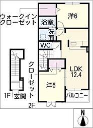 グリーンローズ B棟[2階]の間取り