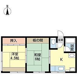 新潟県新潟市中央区上大川前通4番町の賃貸アパートの間取り