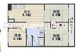 岡山県岡山市南区福富西3丁目の賃貸マンションの間取り