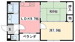 クレアール甲子園[2階]の間取り
