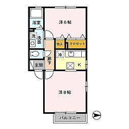 サンシャイン A[1階]の間取り