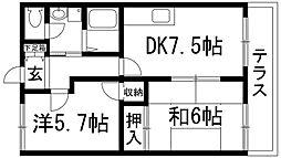 兵庫県伊丹市寺本2丁目の賃貸アパートの間取り