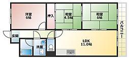 大阪府八尾市西木の本1丁目の賃貸マンションの間取り