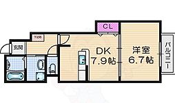 サンリットゼファー 1階1DKの間取り