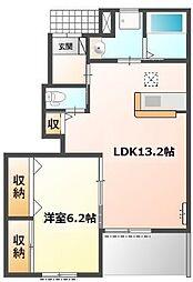 愛知県名古屋市名東区梅森坂1丁目の賃貸アパートの間取り
