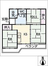 ビレッジハウス井村II号棟[1階]の間取り