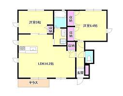 JR五日市線 武蔵五日市駅 徒歩11分の賃貸アパート 1階2LDKの間取り