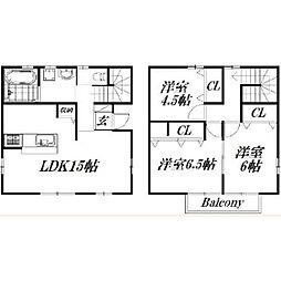[テラスハウス] 静岡県浜松市浜北区新原 の賃貸【/】の間取り