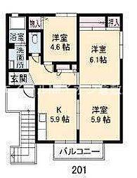 岡山県倉敷市児島小川町丁目なしの賃貸アパートの間取り