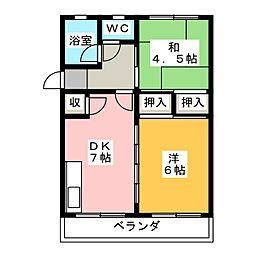 アサノグリーンハイツ[2階]の間取り