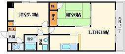 アライブ江坂2[4階]の間取り