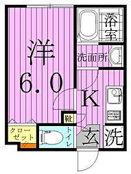 東京都葛飾区西亀有2丁目の賃貸アパートの間取り