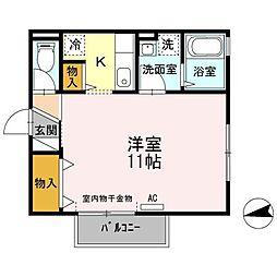 広島県東広島市西条町御園宇の賃貸アパートの間取り