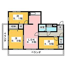 フォーラム岩倉[4階]の間取り