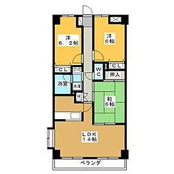東仙台ガーデンハイツIII[5階]の間取り