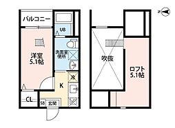 愛知県名古屋市熱田区一番2丁目の賃貸アパートの間取り