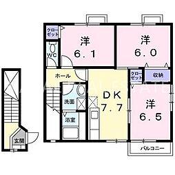 ハッピースクエアーII[2階]の間取り