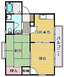 ラフォーレ花水樹[B201号室]の間取り