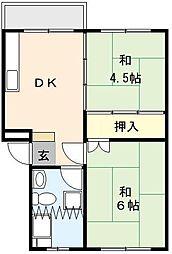 吉野原丸徳マンション 1階2DKの間取り