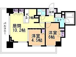 札幌市営南北線 さっぽろ駅 徒歩3分の賃貸マンション 21階2LDKの間取り