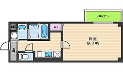 ヴィラペントハウス桑津 8階1Kの間取り